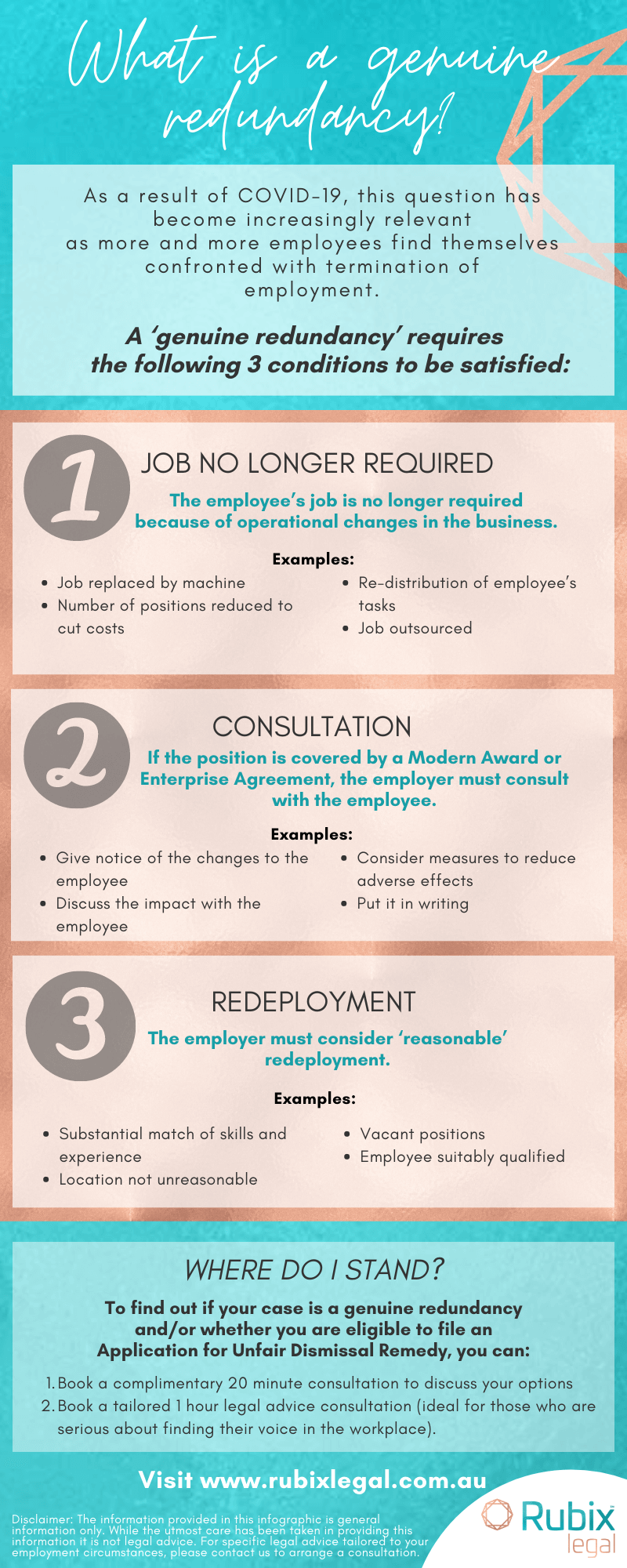 If you have been made redundant and need advice, Gold Coast law firm, Rubix Legal, explains how to recognise whether your redundancy is genuine, in this helpful infographic.